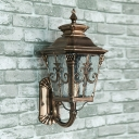 Water Glass Brass Sconce Lighting Pointed Flower 1-Light Country Wall Mounted Lamp Fixture