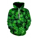 Cool Boys Long Sleeve Drawstring All Over 3D Leaf Printed Loose Fit Green Hoodie with Pocket