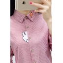 Leisure Cute Ladies Long Sleeve Lapel Neck Button Up Rabbit Carrot Embroidery Stripe Printed Curved Hem Relaxed Shirt