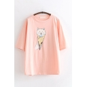 Girls Preppy Looks Short Sleeve Round Neck Cat Ice-Cream Printed Loose Fit T Shirt