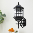 Hexagon Clear Glass Wall Light Sconce Country 1-Bulb Outdoor Wall Mount Fixture in Black with Solar Panel