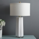 1-Head Living Room Table Lamp Simplistic White Ceramic Floral Base Designed Desk Light with Drum Fabric Shade