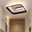 Black Square Ceiling Flush Mount Minimalist Acrylic LED Flush Mount Lamp for Hallway in Warm/White Light
