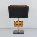 Metal Rectangle Nightstand Lamp Minimal 1 Bulb Night Lighting in Black for Bedroom