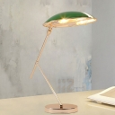 Metallic Balance Arm Study Lamp Modern Style 1 Light Reading Book Light in Green with Dome Shade