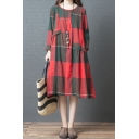 Cozy Retro Womens Long Sleeve Round Neck Plaid Patterned Patchwork Cotton and Linen Long Oversize T Shirt Dress