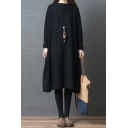 Popular Womens Solid Color Long Sleeve Round Neck Roll Edge Slit Side Knitted Long Oversize Sweater Dress