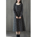 Retro Classic Womens Long Sleeve Round Neck Ditsy Floral Patterned Gathered Waist Maxi Swing Dress