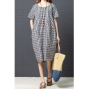 Casual Womens Short Sleeve Round Neck Plaid Patterned Cotton and Linen Midi Oversize Dress