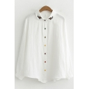 Leisure Ladies Long Sleeve Lapel Neck Button Down Floral Embroidered Loose Fit Shirt in White
