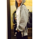 Leisure Mens Long Sleeve Zipper Front Hooded Relaxed Fit Gray Hoodie