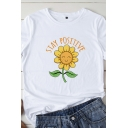 Ladies Fashion Roll Up Sleeve Round Neck Letter STAY POSITIVE Sunflower Graphic Regular Fit T-Shirt