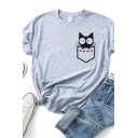 Basic Cute Girls Rolled Short Sleeve Crew Neck Pocket Cat Printed Slim Fitted T Shirt