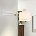 Contemporary Drum Fabric Wall Sconce Lighting 1 Head Wall Light Fixture in White for Bedroom