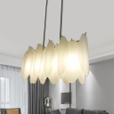 Simplicity Leaf Island Pendant Frosted Glass 4-Head Dining Room Hanging Lamp in Gold