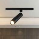 Tube Semi Flush Ceiling Light Simple Metal LED Restaurant Flush Mount Spotlight in Green/Black