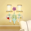 Light Blue 2-Bulb Wall Lamp Korean Flower Fabric Bell Sconce Light Fixture with Crystal Accent