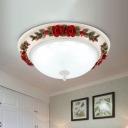 LED White Glass Flush Mount Light Pastoral Red Bowl Living Room Flushmount Ceiling Lamp, 12