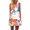 Ladies Popular Sleeveless Round Neck All Over Floral Printed Short A-Line Tank Dress
