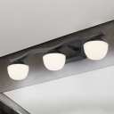 Modernist 3-Head Vanity Lighting Black Dome LED Wall Mount Light Fixture with Opal Frosted Glass Shade