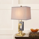 1-Head Bedroom Table Lighting Modern White Nightstand Lamp with Trapezoid Fabric Shade