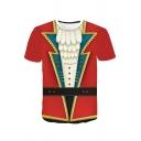 Fashionable Mens Short Sleeve Crew Neck Colorblock 3D Suit Print Slim Fit Tee Top