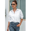 Simple Womens White Short Sleeve Lapel Neck Button Down Relaxed Fit Shirt
