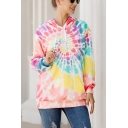 Pretty Womens Long Sleeve Drawstring Colorful Spiral Printed Pouch Pocket Relaxed Hoodie