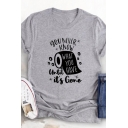 Simple Girls Rolled Short Sleeve Crew Neck Letter YOU NEVER KNOW Toilet Paper Graphic Regular Fit T Shirt