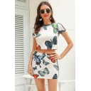Popular Girls Short Sleeve Crew Neck All Over Butterfly Pattern Regular Fit Crop Tee & Mini Bodycon Skirt Two Piece Sets in White