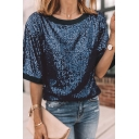 Trendy Womens Short Sleeve Round Neck Sequins Contrast Piped Bling Bling Relaxed Tee in Dark Blue