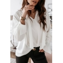 Formal Elegant Ladies Solid Color Long Sleeve V-Neck Straps Relaxed Fit Blouse Top in White