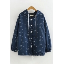 Trendy Womens Long Sleeve Drawstring Button Up All Over Cartoon Planet Printed Relaxed Fit Jacket