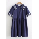 Preppy Girls Short Sleeve Sailor Collar Striped Button Up Short Pleated Swing Dress
