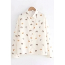 Casual Beige Long Sleeve Lapel Neck Single Breasted Allover Animal Print Loose Fit Shirt for Girls