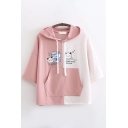 Fashionable Girls Three-Quarter Sleeve Drawstring Letter YUMMY Cartoon Graphic Colorblock Relaxed Fit Hooded Tee