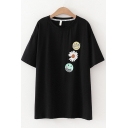 Womens Popular Short Sleeve Round Neck Smile Face Floral Pattern Loose Fit T-Shirt