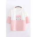 Fancy Girls Three-Quarter Sleeve Round Neck Cartoon Face Japanese Letter Graphic Colorblock Relaxed T-Shirt