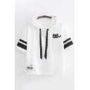 Cute Girls Short Sleeve Drawstring Cat Mouse Embroidered Striped Relaxed Fit Hooded T-Shirt