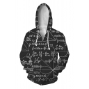 Chic Black Long Sleeve Zip Up Drawstring Formula Printed Relaxed Fit Hoodie for Boys