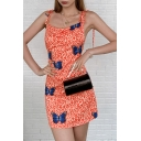 Summer Fancy Womens Orange Sleeveless Bow Tie Shoulder Butterfly Leopard Printed Short Fitted Cami Dress