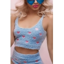 Hot Ladies Blue Sleeveless Scoop Neck Fluffy Allover Heart Print Fitted Crop Tank Top