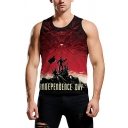 Mens Sleeveless Round Neck Letter INDEPENDENCE DAY Graphic Fitted Tank Top in Red