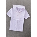 Preppy Looks Short Sleeve Sailor Collar Button Down Ruched Fitted White Shirt for Girls