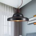 Antiqued Urn Shade Pendant 1 Light Metallic Hanging Ceiling Lamp in Black for Restaurant