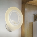 LED Corner Wall Light Sconce Simple White Wall Mount with Hoop Acrylic Shade in Warm/White Light