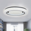 Contemporary LED Flush Lighting Black and White Round Close to Ceiling Lamp with Acrylic Shade in Warm/White Light, 16