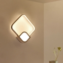 White Rhombus Wall Sconce Minimalist LED Acrylic Wall Mount Fixture for Restaurant