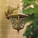 Metallic Brass Wall Mount Sconce Lantern 1-Light Farmhouse Up/Down Wall Lamp Fixture for Outdoor