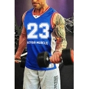 Sportwear Training Sleeveless V-Neck Letter DOCTOR MUSCLE 23 Print Contrast Piped Slim Fitted Tank